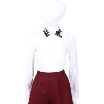 RED VALENTINO 白色字母刺繡造型領長袖襯衫