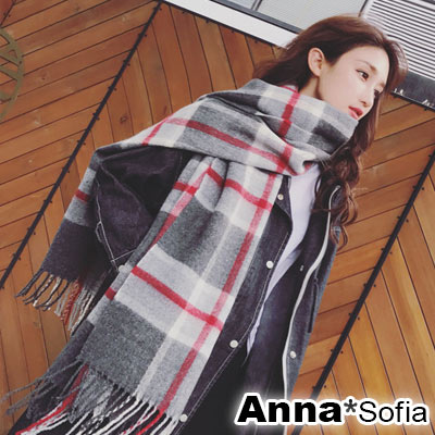 AnnaSofia 知性氣質格紋 厚織仿羊絨大披肩圍巾(深灰紅線系)