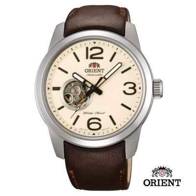 ORIENT 東方錶 SEMI-SKELETON 小鏤空機械錶-卡其黃/42.5mm