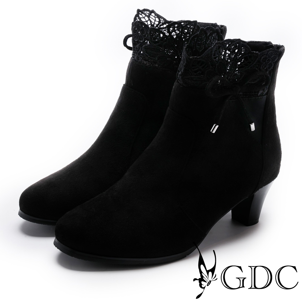 GDC-甜美沉穩蕾絲蝴蝶結低跟布面短靴-黑色