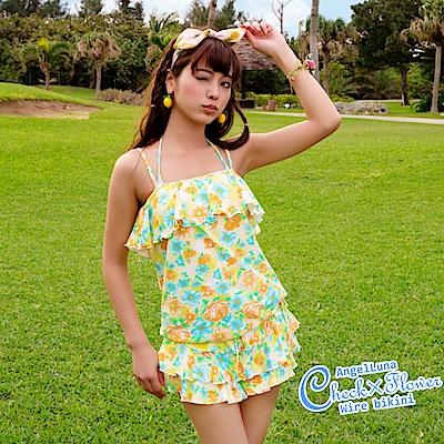 【AngelLuna日本泳裝】 印花格紋四件式比基尼泳衣-黃色