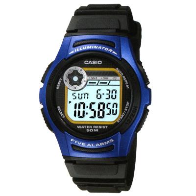 CASIO 元氣小子休閒數字錶(W-213-2A)-藍框