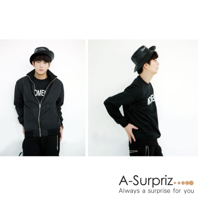 A-Surpriz  NEW YORK PU皮革漁夫帽(黑)