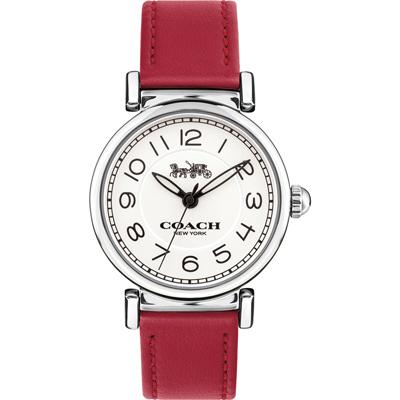 COACH Madison 時尚饗宴 數字腕錶(14502861)-銀x紅/32mm