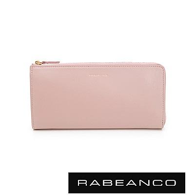RABEANCO 迷時尚系列撞色多格層拉鍊長夾 玫瑰金