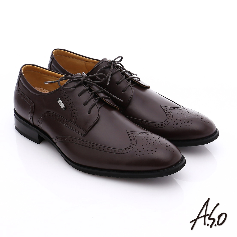 A.S.O 勁步雙核心 真皮拼接綁帶奈米牛津鞋 咖啡色