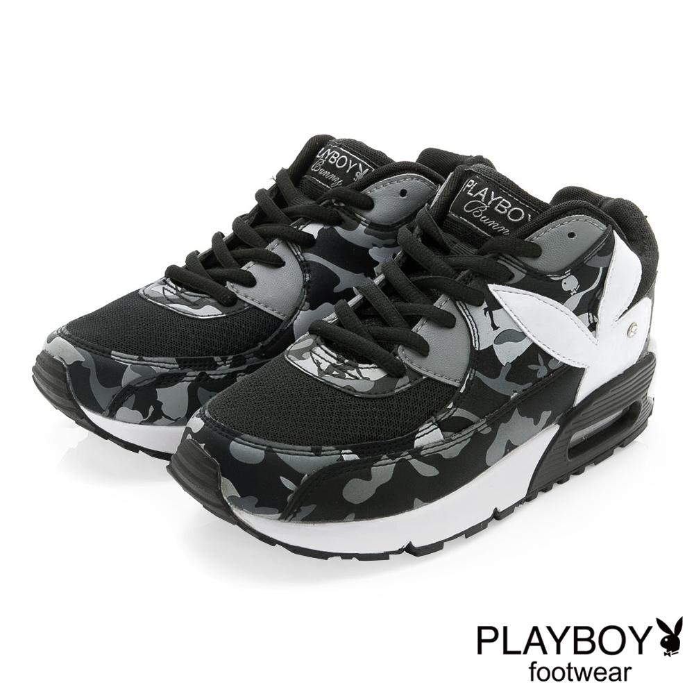PLAYBOY 注目潮流 迷彩拼接氣墊運動鞋-黑(女)