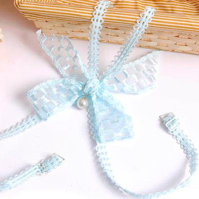 Aimee Toff 飄帶編織蝴結交叉造型肩帶(藍)