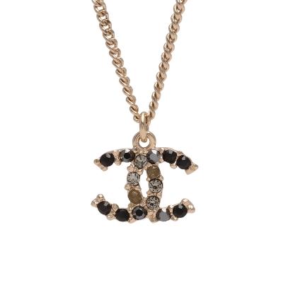 CHANEL 香奈兒經典雙C LOGO雙色水鑽鑲嵌造型墜飾項鍊(金)