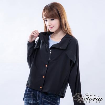 Victoria 飛鼠寬版隨性風外套-女-黑