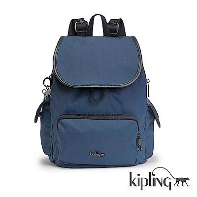 Kipling 後背包 緞面藍素面-中