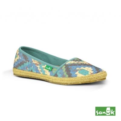 SANUK 幾何圖形娃娃鞋-女款(淡藍綠色)