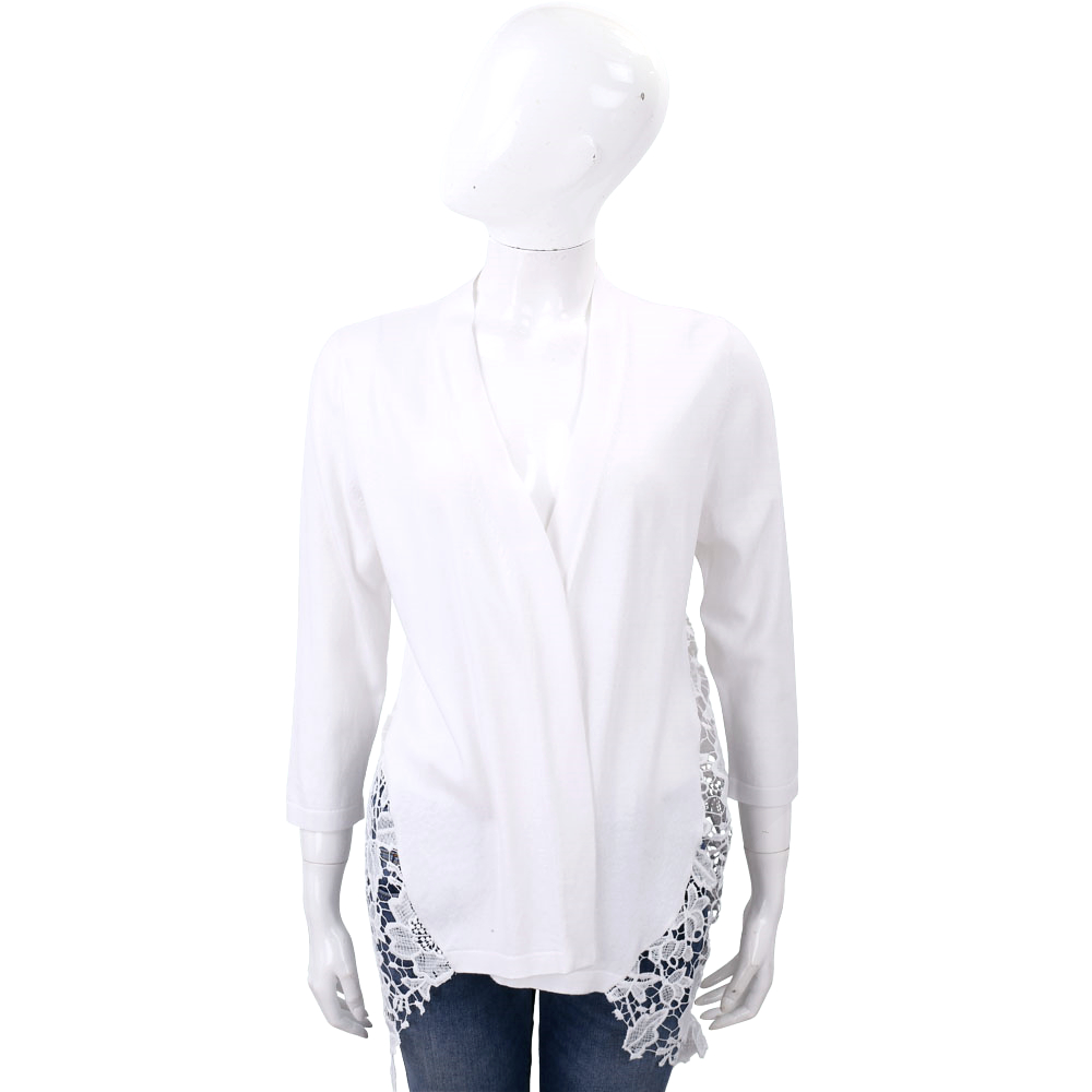 ROCCO RAGNI 白色側蕾絲織花針織外套
