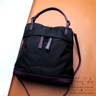 DF Flor Eden - 輕盈防潑水尼龍牛皮配飾手提斜背2用包