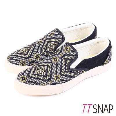 TTSNAP樂福鞋-MIT圖騰編織懶人鞋 黃