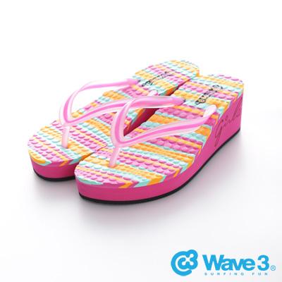 WAVE3【女】台灣製果凍耳帶厚底人字夾腳拖~粉