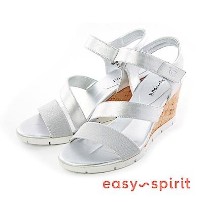 Easy Spirit--皮革交錯楔型涼鞋-迷人銀