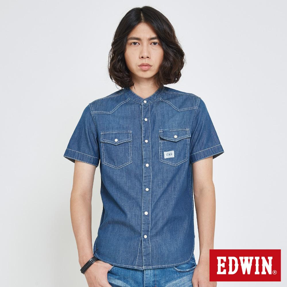 EDWIN 中性亨利領牛仔襯衫-中性-拔洗藍