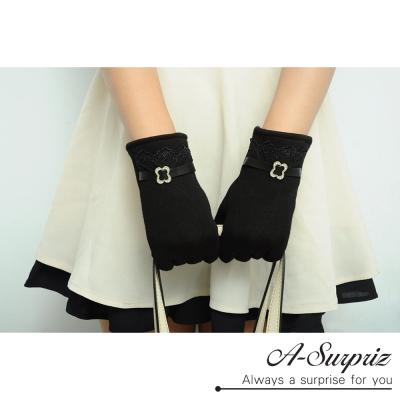 A-Surpriz-蕾絲邊仿皮革精梳棉觸控手套-黑