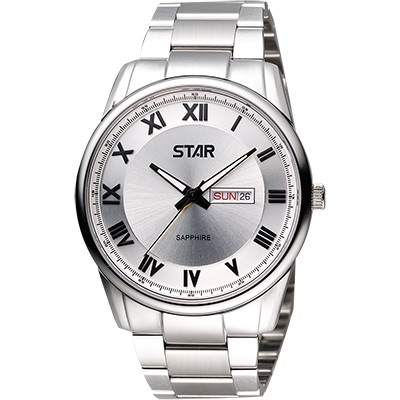 STAR 羅馬經典藍寶石水晶時尚腕錶-銀/ 43 mm