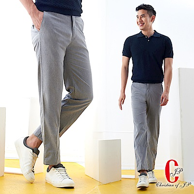 Christian 經典彈性纖維平面休閒棉褲_灰(HS710-1)