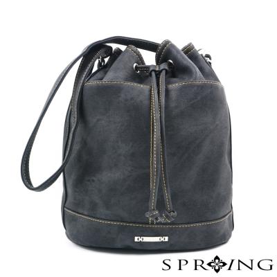 SPRING-MIT-水洗牛仔風2WAY水桶包-黑