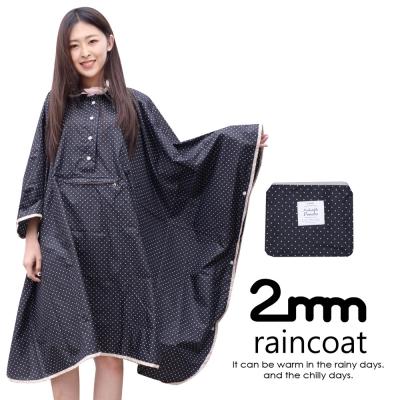 2mm 蝙蝠袖斗篷款。時尚雨衣/風衣(R-W043)_黑色