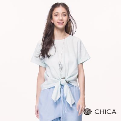 CHICA 俏麗活潑法式蝴蝶結綁帶設計上衣(1色)