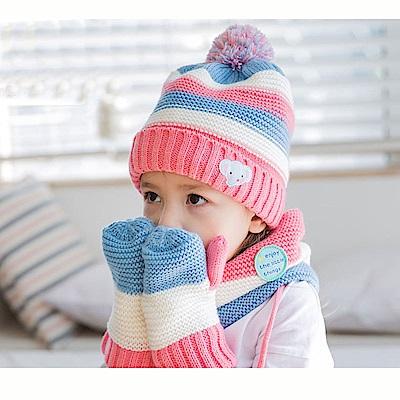 兒童 毛帽+手套+脖圍3件組-(2色可選)