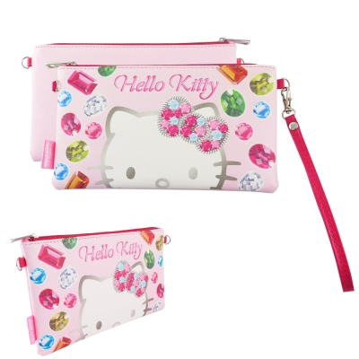 Sanrio三麗鷗皮革彩繪橫式手機袋 萬用包-Kitty鑽石