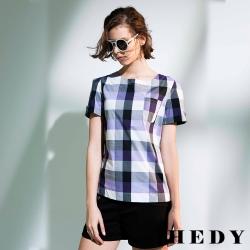Hedy赫蒂 格紋口袋縫釦圓領上衣(共二色)