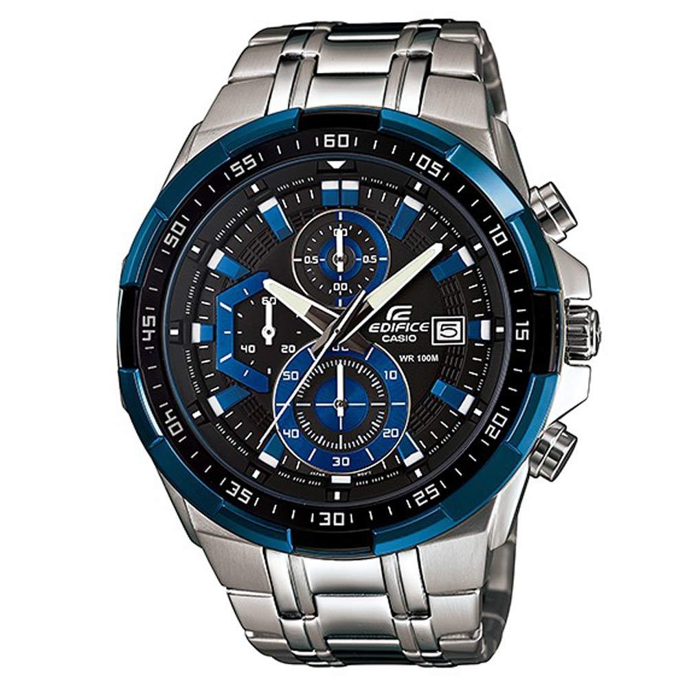 EDIFICE流線三眼設計魅力極速賽車計時錶(EFR-539D-1A2)-黑x藍框/49.5mm
