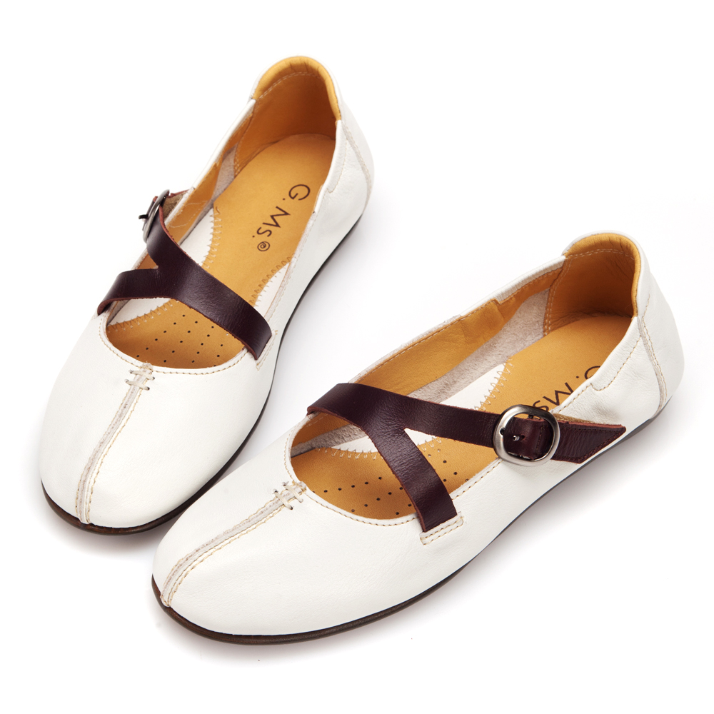 G.Ms. MIT系列-俏麗真皮雙斜帶娃娃便鞋-深情白