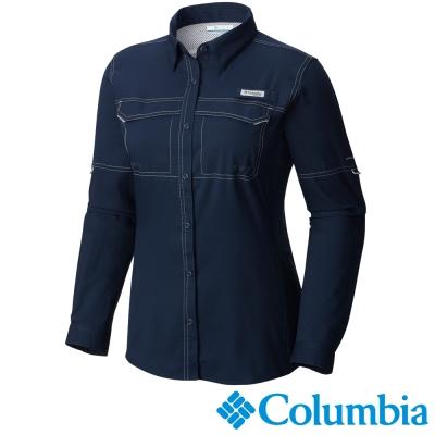 【Columbia哥倫比亞】女-快排防曬40長袖襯衫-深藍色 UFL10330NY