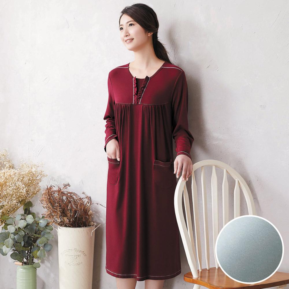 華歌爾 美麗諾羊毛 M-L 長袖圓領裙裝(藍)-睡眠研究所-家居服-舒適保暖