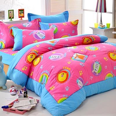 Goelia   動物星球-粉 精梳純棉立體壓花特大鋪棉兩用被套床包四件組
