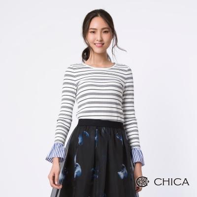 CHICA 幾何線條工藝時尚異材質拼接上衣(2色)