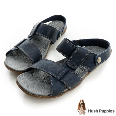Hush Puppies 亞麻大底超彈力可拆式拖涼鞋-深藍
