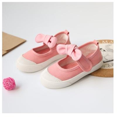 甜美蝴蝶結款四季兒童帆布鞋-粉