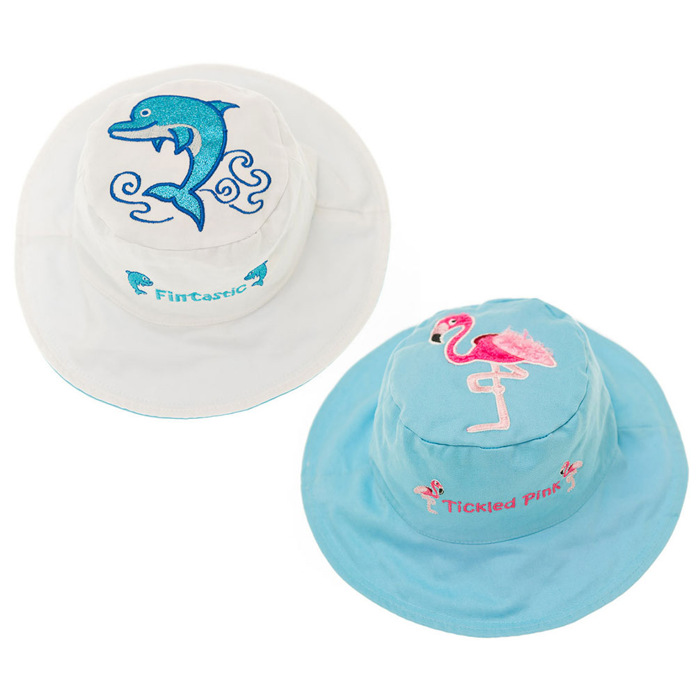 Flapjack kids 加拿大 海豚/火鶴款雙面防曬漁夫帽