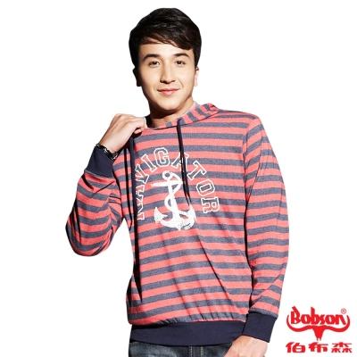 BOBSON 男款船鉚條紋連帽長袖上衣(紅13)