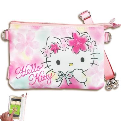 三麗鷗授權 Hello Kitty 觸控手機肩背包(櫻花)