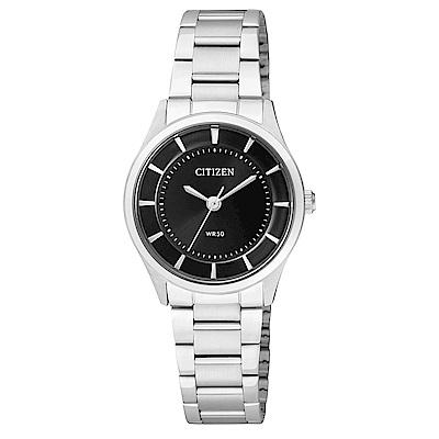 CITIZEN星辰 高雅秀氣石英女錶  (ER0207-50E)-黑色/27mm