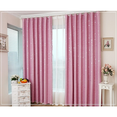 布安於室-星晨單層雙用窗簾-粉色-寬100x高130cm