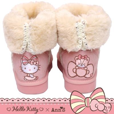 HELLO KITTY X Ann'S花園刺繡溫暖毛線真皮雪靴禮盒-粉