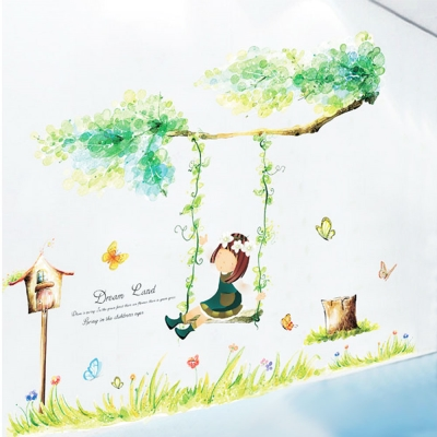 A-217創意生活系列-秋韆女孩 大尺寸高級創意壁貼 / 牆貼