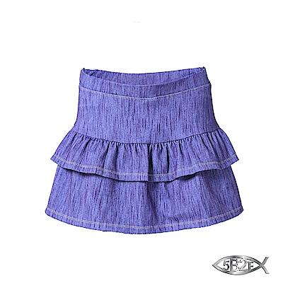 5B2F-五餅二魚-仿牛仔蛋糕裙襬短褲