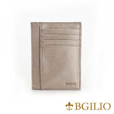 義大利BGilio-都會十字紋牛皮便卡片夾-金色-2299.310-17