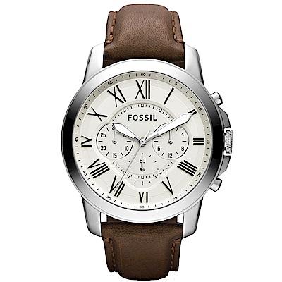 FOSSIL 英倫復刻時代三眼計時腕錶-銀白/44mm