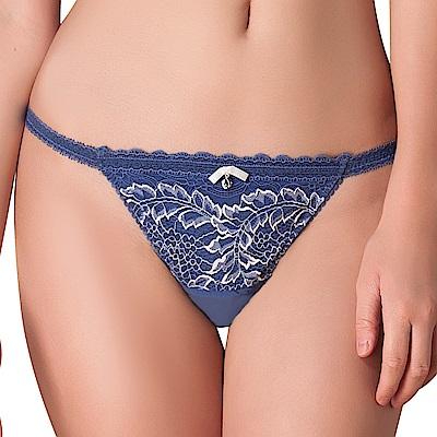思薇爾 慕夏星空系列M-XL蕾絲低腰丁字褲(皇室藍)